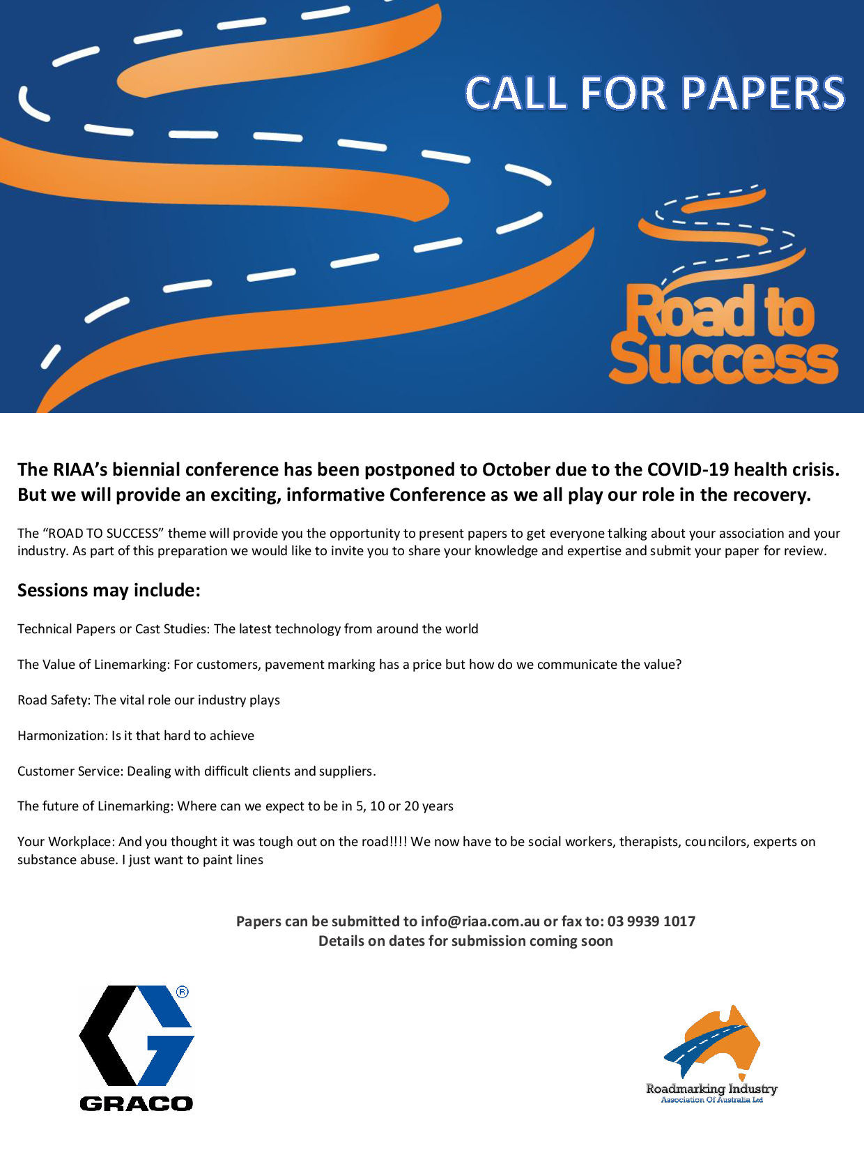Call for Papers - October 28th and 29th 2020 – Road To Success Conference Opal Cove Resort Coffs Harbour